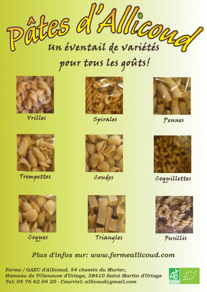 Affiche produits Pâte variétés